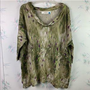 Sparrow Green Cowl Neck Linen Sweater Waterlillies